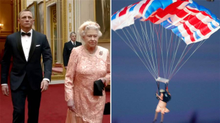 Queen parachuting