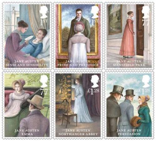 6 Jane Austen Stamps