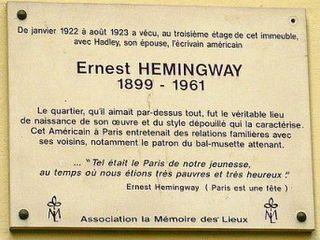 Hemingway Paris plaque
